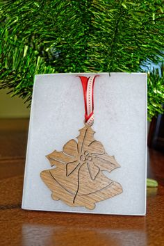 Wooden Christmas Ornament  Holiday Bells by AllThisWood