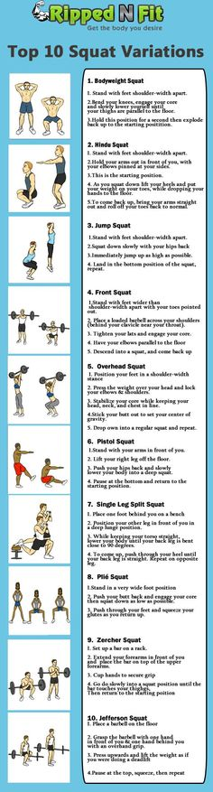 Get Better Legs with These 10 Squat Variations! Click here for the workout descriptions!