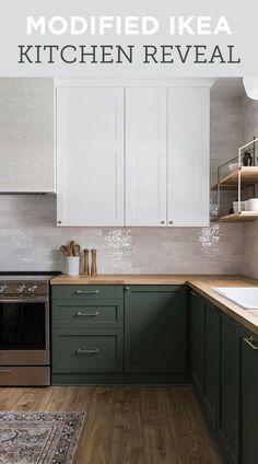 A low budget custom kitchen with Ikea cabinets, countertops, and DIYs Home Decor Kitchen, Kitchen Interior, New Kitchen, Home Kitchens, Room Kitchen, Dining Room, Dark Green Kitchen, Design Kitchen, Green Kitchen Designs