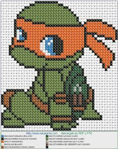 Michelangelo EN PUNTO DE CRUZ Cross stitching but can also be use as a perler bead pattern Beaded Cross Stitch, Cross Stitch Baby, Cross Stitch Charts, Cross Stitch Embroidery, Cross Stitch Patterns, Crochet Stitches Patterns, Embroidery Patterns, Pixel Crochet, Crochet Turtle