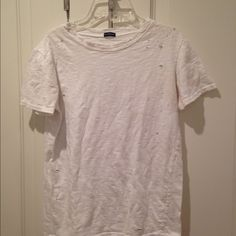 Distressed Brandy tee White distressed Brandy tee thick material fits small Brandy Melville Tops Tees - Short Sleeve