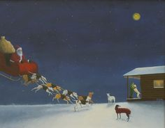"""In this illustration """"When Time Is of the Essence"""" by Phyllis Andrews, we see that Santa uses teams of greyhounds so that he can make all his deliveries in one night. Greyhound Art, Italian Greyhound, Lurcher, Bedlington Whippet, Fun Illustration, Grey Hound Dog, Sale Poster, Rainbow Bridge, Beautiful Dogs"""