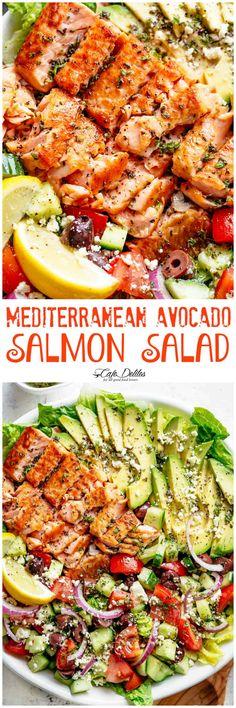 Mediterranean Avocado Salmon Salad - Cafe Delites