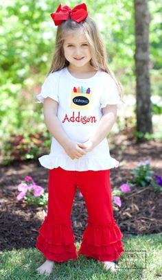 Southern Tots - Southern Tots Red Knit Ruffle Pants with Crayon Applique Shirt Set - with Monogram, $26.00 (http://www.southerntots.com/southern-tots-red-knit-ruffle-pants-with-crayon-applique-shirt-set-with-monogram/)