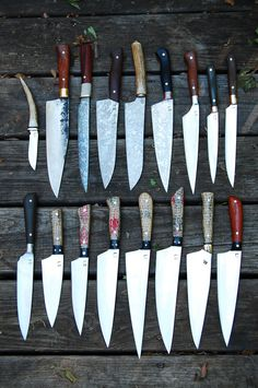 Absolutely beautiful custom carbon steel chef knives from Bloodroot Blades. $350.00, via Etsy.