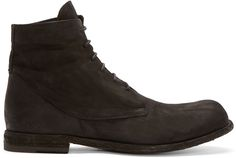Officine Creative: Black Brushed Leather Boots | SSENSE