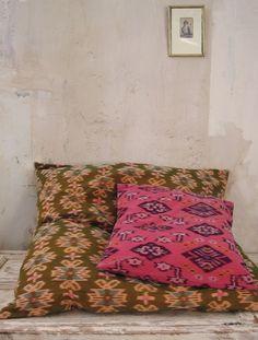 ikat - sol cushion - large silk and cotton cushion