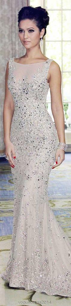 Attractive scoop neck crystal mermaid dress