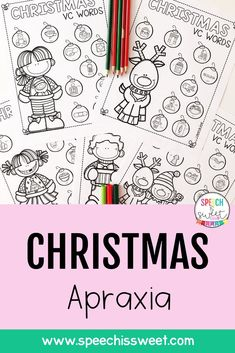 These Christmas themed Apraxia activities address 8 different syllable patterns such as CV, VC, and CVC. These pages are designed to be used with children with childhood apraxia of speech, but can also be used for phonology therapy! | Speech is Sweet