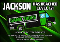 1500 Video Game Truck Birthday Invitations Printable or Printed by
