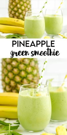 Quick And Easy Recipes. This Pineapple Green Smoothie is a delicious way to start off your morning or to enjoy anytime during the day! This green smoothie is filled with pineapple, spinach greens and loads of flavor! Spinach Smoothie Recipes, Pineapple Smoothie Recipes, Easy Smoothie Recipes, Easy Smoothies, Vegetable Smoothies, Green Smoothies, Smoothies With Spinach, Healthy Morning Smoothies, Best Green Smoothie