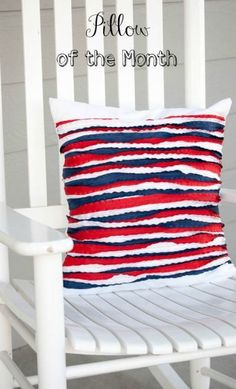 Pillow of the Month- Double Ruffle Ribbon Pillow Tutorial - Redo Mom. If you can sew a straight line you can make thus cute pillow. This is one 4th of July colors red white and blue, but you can do any colors you want.