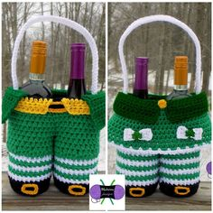 New character gift baskets to add to the series!  Leprechaun Pants & Lady Leprechaun patterns are available on Ravelry!  #crochet #crochetersofinstagram #crochet365 #crochetlove #stpatricksday #stpattysday #leprechaun #giftbaskets #basket #funny #blackstonedesigns by blackstone_designs