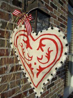 Valentine Day Burlap Door Hanger Valentine by nursejeanneg on Etsy