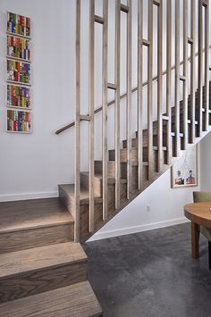 Balustrading idea - could add some cross pieces to make current railing safer Modern Railings For Stairs, Wood Stair Railings, Modern Stairs Design, Staircase Banister Ideas, Bannister Ideas, Timber Staircase, Contemporary Stairs, Attic Staircase, Staircases