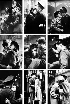 Soldiers say their farewells at Pennsylvania Station New York,1943. Photographed by Alfred Eisenstaedt ~