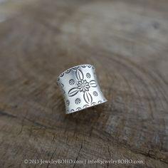 BOHO 925 Silver Ring-Gypsy Hippie Ring,Bohemian style,Statement Ring R104 JewelryBOHO,Handmade sterling silver BOHO Tribal printed ring