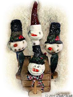 Snowman E Pattern Primitive Folk art by harrietstash on Etsy