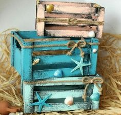 Rustic Box Shabby House Decor Dressing Table Kitchen Organizer Home Decor Accessories . - Rustic Box Shabby House Decor Dressing Table Kitchen Organizer Home Decor Accessories Hand Painted - Seashell Crafts, Beach Crafts, Seashell Projects, Wooden Crates, Wooden Boxes, Milk Crates, Wooden Diy, Beach House Decor, Diy Home Decor