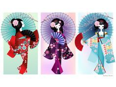 printable images of geishas | Origami Dolls Print by * minercia on deviant ART Washi, Japanese Birthday, Asian Crafts, Asian Decor, Digi Stamps, Beautiful Artwork, Disney Art, Female Art, Illustrations Posters