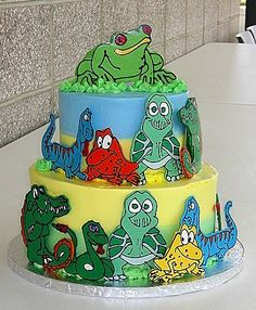 Tiered Cake Decorated with Reptile Cutouts Boy Birthday Parties, Birthday Cakes, Tiered Cakes, White Chocolate, Reptiles, Cake Decorating, Irene, Tortoise, Cake Ideas
