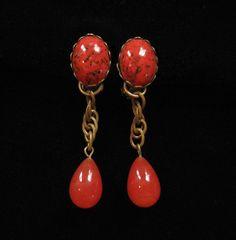 Alice Caviness Orange Art Glass Earrings by Elsewind on Etsy, $65.00