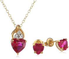 XPY Gold Plated Silver Created Ruby Heart