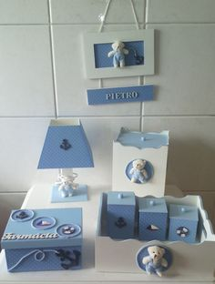 kit higiene 8 pç completo+quadro enfeite de porta maternidad