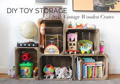 DIY wood crate Montessori toy storage