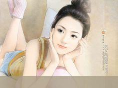 Beautiful Chinese Girl Paintings  Wallpaper  13