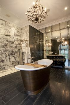 All of our antiqued mirror and verre eglomise finishes are available in custom sizes to fit your wall perfectly. Diy Bathroom Decor, Bathroom Interior Design, Bathroom Ideas, Luxury Bath, Headboards For Beds, Antiqued Mirror, Small Rooms, Feature Walls, Interior Architecture