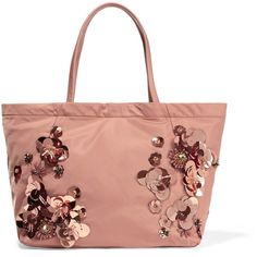 Tory Burch Embellished twill tote ($210) ❤ liked on Polyvore featuring bags, handbags, tote bags, antique rose, antique beaded handbags, tote purse, red tote bag, red handbags and red purse