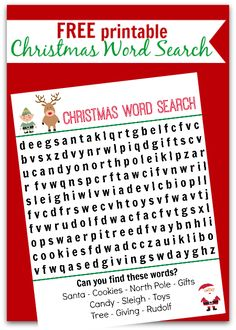 { Perfect Last Minute Activity! } Cute word search for kids. I am printing this out for the kids table at Christmas.