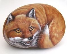Fox | Rock painting art by Roberto Rizzo