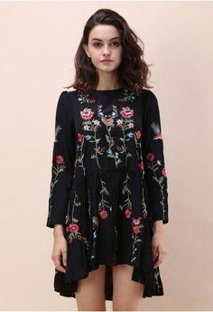 Black Embroidered Dress Available at Pasa Boho