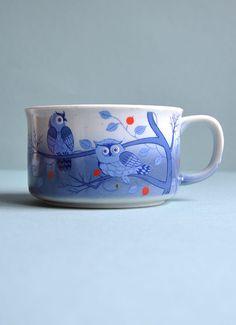 Retro Blue Owls Mug by MisterTrue on Etsy