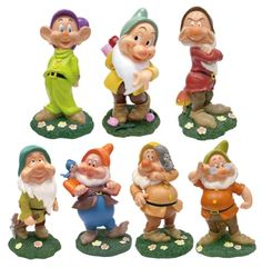 "seven dwarf garden statues seven dwarf garden gnomes seven dwarf figurines Features: Officially Licensed by Disney Dimensions: 12""H Made from Durable Polyresin/Stone Powder Weighs 4 lbs each Includes all 7 Dwarfs"
