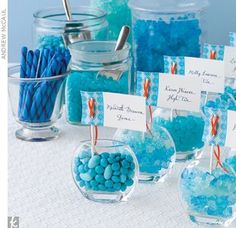 Candy bar for favors- except in navy blue.