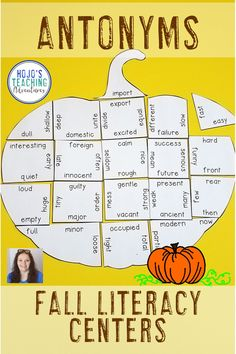 These Antonym Pumpkin Puzzles are great for fall literacy centers, review, early & fast finishers, enrichment, GATE, & critical thinking skills. Great for a lesson in perseverance. With this fun game format your students will stay engaged while practicing necessary skills! Use them in your second, third, fourth, or fifth grade classroom! Low prep - just print, cut, and go! {2nd, 3rd, 4th, 5th, graders, upper elementary, Halloween, Thanksgiving, autumn}