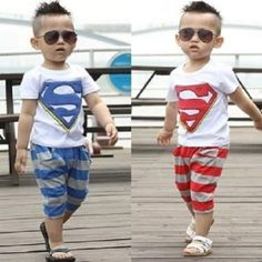 """Super"" Shirts T-Shirts+Pants Outfit Set Tops Boys Kids Baby Sportwears New 1-6y **************************************** חולצה ומכנס סופרמן לילדים עד גיל 6 רק ב 46 שקל כולל משלוח חינם"