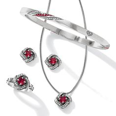 You loved our Eternity Knot collection in clear crystal and blue. Now Brighton is introducing the elegant set in a Ruby color. Isn't this pop of red just perfect for the holidays?