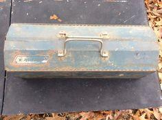 Vintage Industrial Split Top Tool Box with Tool by LoftAtticEarth