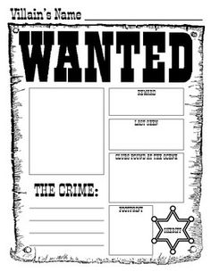 For a fun activity, you can use the Wanted Poster for any fairy tale villain you are reading about with your class.