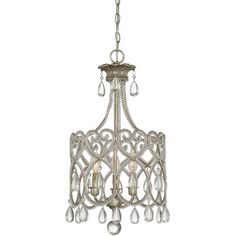 Lend a feminine touch to the master suite or powder room with this eye-catching chandelier, featuring beaded accents and a steel frame. ...