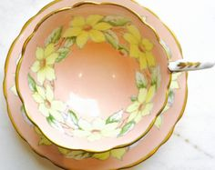 RESERVED FOR DELIANA-Royal Stafford Peach Dogwood 1940's Gold Gilded Teacup and Saucer - Edit Listing - Etsy