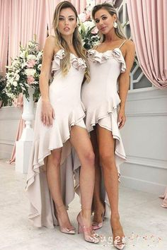Prom Dress Beautiful, A-Line Spaghetti Straps Light Pink Satin Bridesmaid Dress with Ruffles, Discover your dream prom dress. Our collection features affordable prom dresses, chiffon prom gowns, sexy formal gowns and more. Find your 2020 prom dress Hi Low Bridesmaid Dresses, Homecoming Dresses, Wedding Dresses, Bridesmaids, Best Formal Dresses, Popular Dresses, Rosa Satin, Pink Satin, Blush Pink