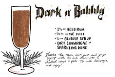 The Dark n' Bubbly with Rum, Champagne, and Ginger Syrup from the Death & Co Cocktail Book: http://ohsobeautifulpaper.com/2015/01/friday-happy-hour-the-dark-n-bubbly-cocktail-recipe/ | Illustration: Shauna Lynn for Oh So Beautiful Paper #OSBPhappyhour