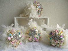 Pastel button bouquets