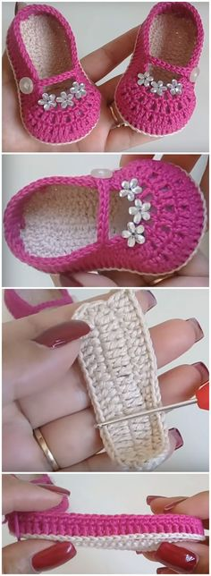 crochet baby shoes Crochet baby shoes always looks very beautiful and lovely. Today you have a chance to make adorable ballerina baby girl shoes with tiny flowers and keep your babys Baby Girl Crochet, Crochet Baby Shoes, Crochet For Kids, Baby Shoes Pattern, Baby Patterns, Crochet Baby Booties, Crochet Slippers, Baby Boots, Baby Girl Shoes