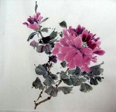 *chinese brush painting peony